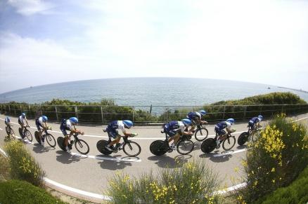 Cycling: 98th Tour of Italy 2015 / Stage 1 Team Orica GreenEdge (AUS)/ MATTHEWS Michael (AUS)/ BEWLEY Sam (NZL)/ CHAVES RUBIO Johan Esteban (COL)/ CLARKE Simon (AUS)/ DURBRIDGE Luke (AUS)/ GERRANS Simon (AUS)/ HEPBURN Michael (AUS)/ LANCASTER Brett (AUS)/ WEENING Pieter (NED)/ Illustration Illustratie / Mediterranean Sea Mer Zee / Landscape Paysage Landschap / Team Time Trial / Contre la Montre Equipes / Ploegentijdrit / TTT / Giro Tour Ronde van Italie / Rit Etape /© Tim De Waele